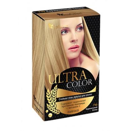 Cтойкая гель-краска для волос Ultra Color, 710 Карамельный блонд