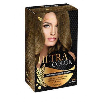 Cтойкая гель-краска для волос Ultra Color, 600 Капучино