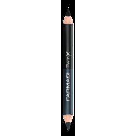 Двойной карандаш для век Twin X черно белое кино