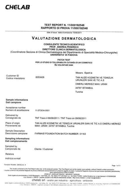 Cертификат №9 соответствия Farmasi
